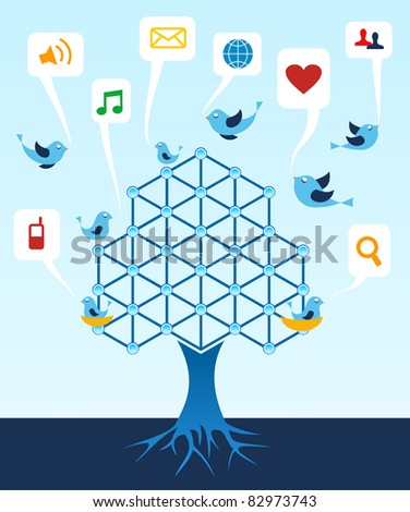 Social media network connection tree. - stock vector