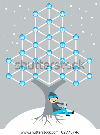 Social media network connection tree in Christmas winter time - stock vector