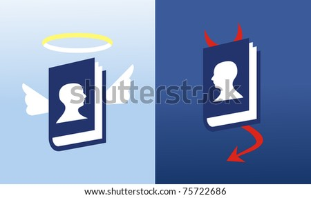 Social media network god and evil. - stock vector