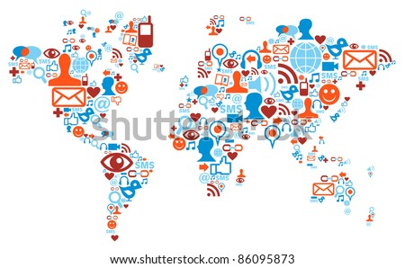 Social media network icons in world map shape concept - stock vector