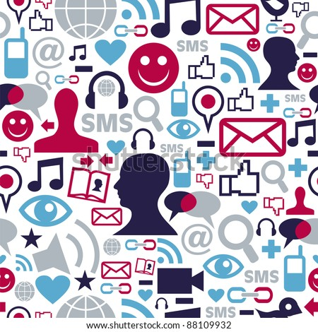 Social media network icons set seamless pattern background