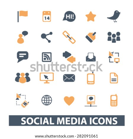 social media, network icons, signs, illustrations set, vector
