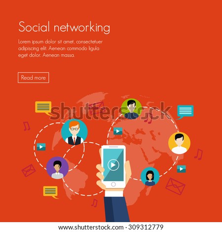 Social media network marketing Vector illustration flat design - stock vector