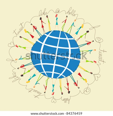 Social media network people around the world. Retro style vector illustration - stock vector
