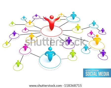 Social Media Network. Vector Illustration. - stock vector