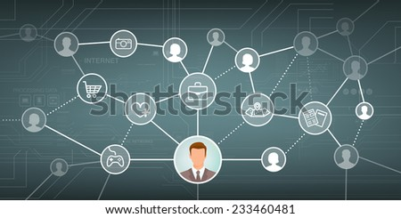 Social media network with male and female avatars and web icons set - stock vector