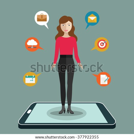 Social media network. woman standing on smartphone with circles and integrate flat icons. Connected symbols for digital, interactive, market, connect, communicate, global concepts. - stock vector