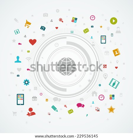 Social media network world concept. App icon splash circle illustration. EPS10 vector file organized in layers for easy editing. - stock vector