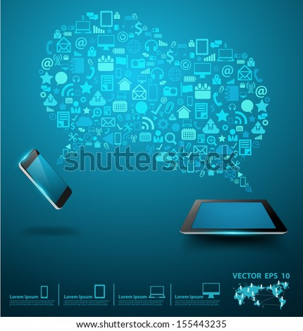 Social media networking, Mobile phones with tablet computer of application icon, Creative speech bubble of technology business software idea concept, Vector illustration modern layout template design - stock vector