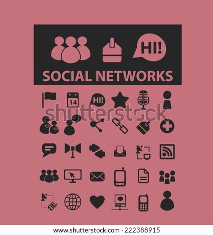 social media, networks black icons, signs, illustrations set, vector - stock vector