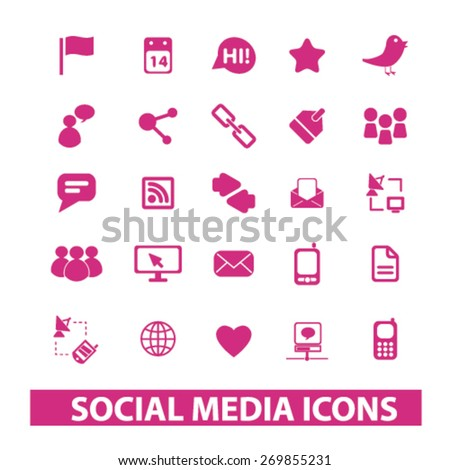 social media, networks, community, blog isolated icons, signs, symbols, illustrations web design template concept set on white background for website, application - stock vector