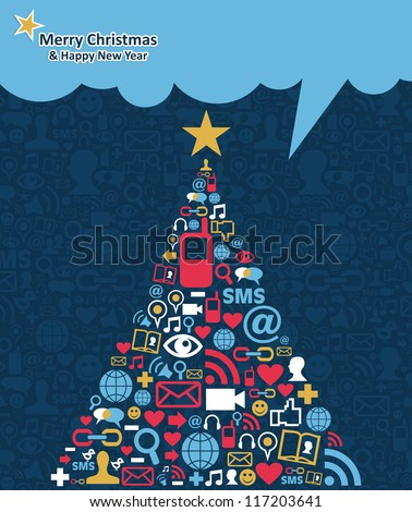 Social media networks icon set in Christmas pine tree greeting card background. Vector illustration layered for easy manipulation and custom coloring.