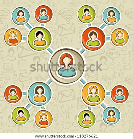 Social media networks online marketing relationship diagram over sketch icons pattern. User people connected to each other. Vector illustration layered for easy manipulation and custom coloring. - stock vector
