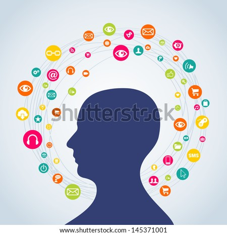 Social media networks profile man with interactive icon set circle. Vector illustration layered for easy manipulation and custom coloring. - stock vector