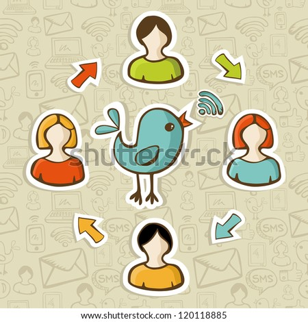 Social media networks RSS feed interaction with users. Vector illustration layered for easy manipulation and custom coloring. - stock vector