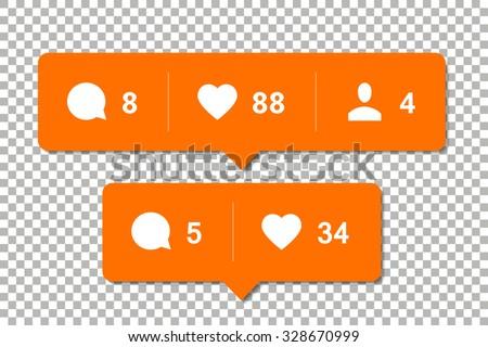 Social media notification vector templates - stock vector