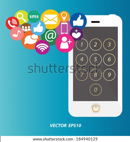 Social media on smartphone - stock vector