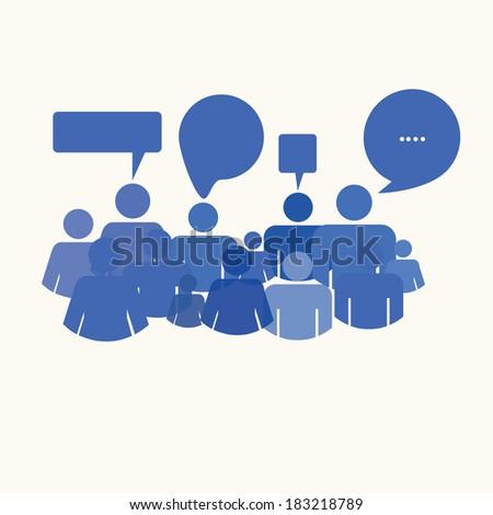social media people meet inside a communication speech bubble - stock vector