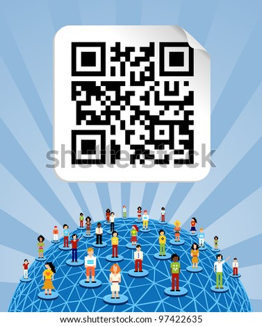 Social media people network connection concept with social QR code and World globe - stock vector