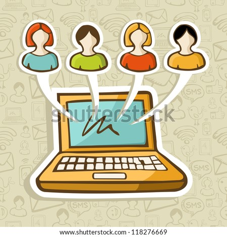Social media people profiles online connection over icon set in sketch style pattern. Vector illustration layered for easy manipulation and custom coloring. - stock vector