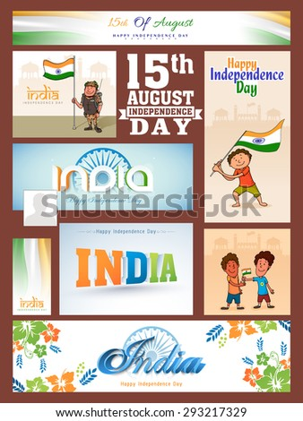 Social media post, header or banner with various elements for Indian Independence Day celebration. - stock vector