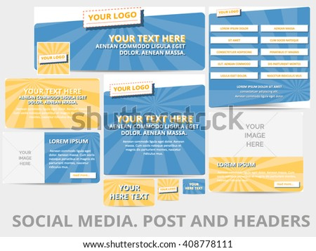 Social media posts, header or banner with retro pattern and logo template. Vector illustration. EPS 10 - stock vector