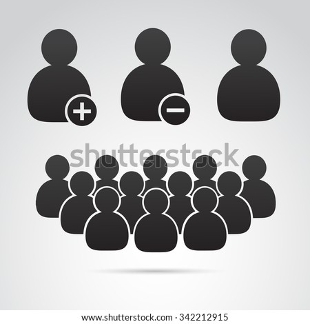 Social media, profile icon, group, nobody icon set. Vector art. - stock vector