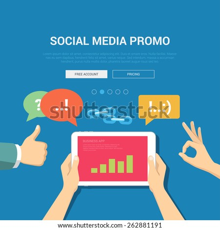 Social media promo showcase mockup modern flat design vector illustration concept. Hands graphic tablet chat bubbles links like okay appreciate. Web banner promotional materials template collection. - stock vector