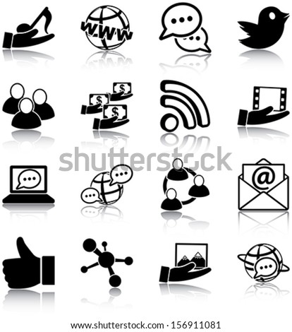 Social media related icons/ silhouettes. - stock vector