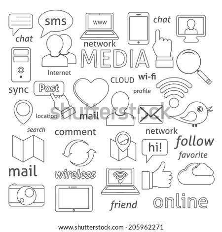 Social media sign for blogging networking and marketing communications isolated vector illustration