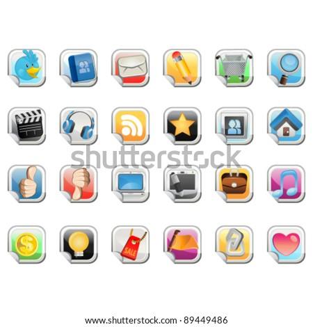 Social Media Sticker Icon - stock vector