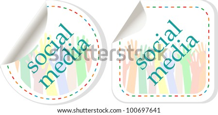 Social media sticker set with hands. vector label
