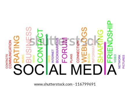 SOCIAL MEDIA text bar-code, vector - stock vector