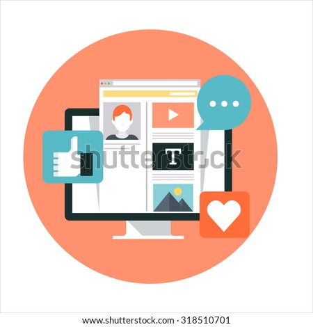 Social Media theme, flat style, colorful, vector icon set for info graphics, websites, mobile and print media. - stock vector