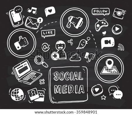 Social media themed doodle on black board - stock vector