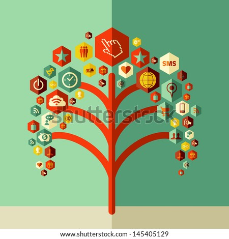 Social media tree concept design. Vector file layered for easy manipulation and custom coloring. - stock vector