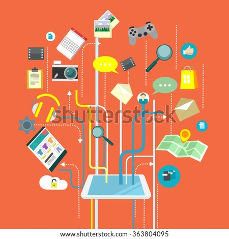 Social media vector flat illustration - stock vector