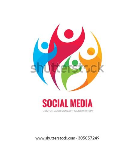 Social media - vector logo concept illustration. Human character logo. People logo. Abstract people logo. Vector logo template. Design element.  - stock vector