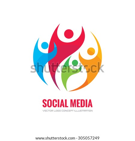 Social media - vector logo template concept illustration. Human character abstract sign. Happy people family symbol. Teamwork partnership. Design element.  - stock vector