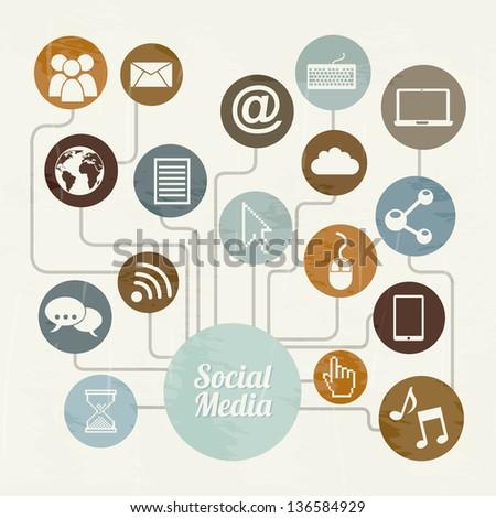 social media vintage over beige background. vector illustration - stock vector