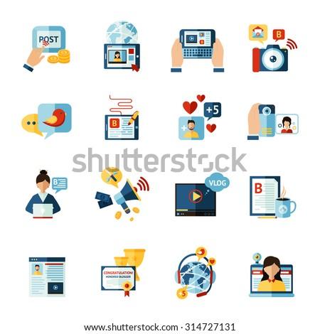 Social media web blogger flat icons set isolated vector illustration - stock vector