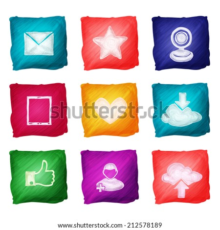 Social media website elements watercolor icons set isolated vector illustration - stock vector