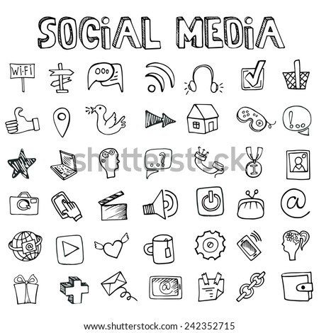 Social Media Word and Icons in Doodle sketchy.Hand drawing set.Colored vector. - stock vector