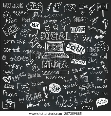 Social Media Word and Icons in Doodle sketchy.Hand drawing set.Vector,Chalkboard background. - stock vector