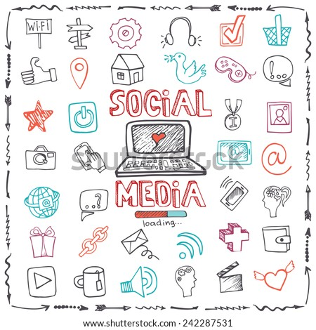 Social Media Word and Icons in Doodle sketchywith arrow frame.Hand drawing set.Colored outline vector,background.