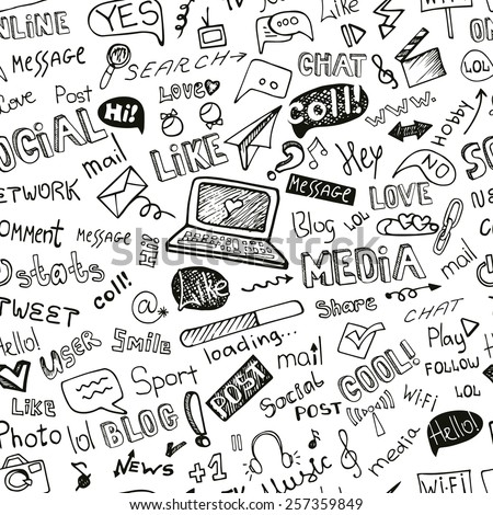 Social Media Word and Icons seamless pattern in Doodle sketchy .Hand drawing set.For Backdrop,background,fabric,Wallpaper.Vector background. - stock vector