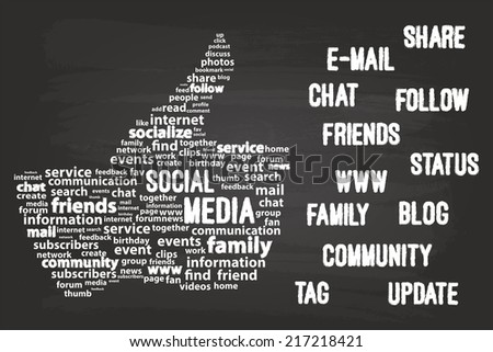 Social Media Word Cloud Concept On Blackboard - stock vector