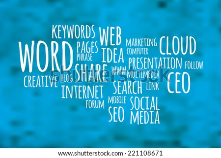 Social media word cloud with blue blurry background - stock vector
