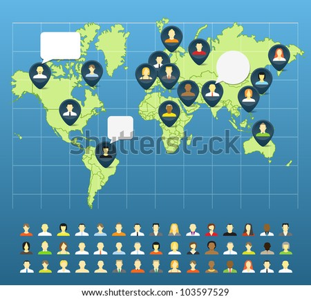 Social network abstract scheme on the Earth map - stock vector