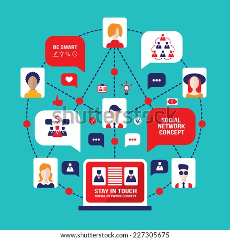 Social network and communication concept. People avatars, gadget and business icons. Vector illustration - stock vector